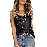 NEEKY Damen Shimmer verziert Sparkle Trägershirt-Weste Tops - Frauen Polka Dot Satin Seide Tank T-Shirt ärmellose Sommer Cami Camisole