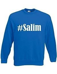 """Sweatshirt Hashtag """"#Salim"""" für Damen Herren und Kinder ... in den Farben Schwarz Weiss Blau mit Aufdruck"""