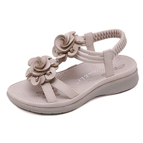 SANMIO Sandalen Mädchen Kindersandale Geschlossene Leder Innensohle Sandale Baby Prinzessin Blumen Sommer Schuhe Sandaletten (Größe 25 bis 34) - Leder Blume Sandalen