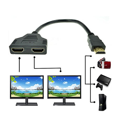 HOT,YANG-YI 1080P HDMI Port Male to 2 Female 1 in 2 Out Splitter Cable Adapter Converter (Black)