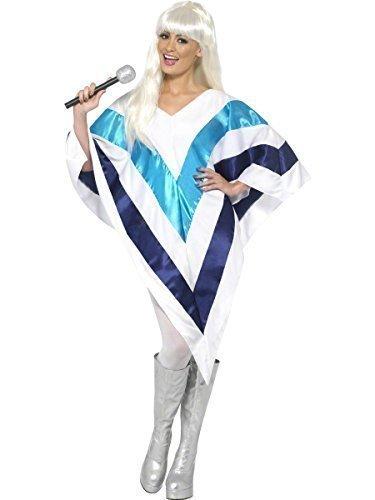 Damen ABBA 70er jahre Super Trooper Poncho Kap 70er Jahre Fancy-Dress Kostüm