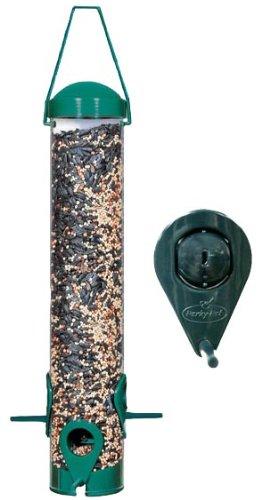 Perky-Pet Comedero para pájaros con 6 Perchas - Dispensador de Comida para Aves - Alimentador Tubo Verde Decorativo con Colgador para su jardín - Capacidad de 800g de Semillas #3261