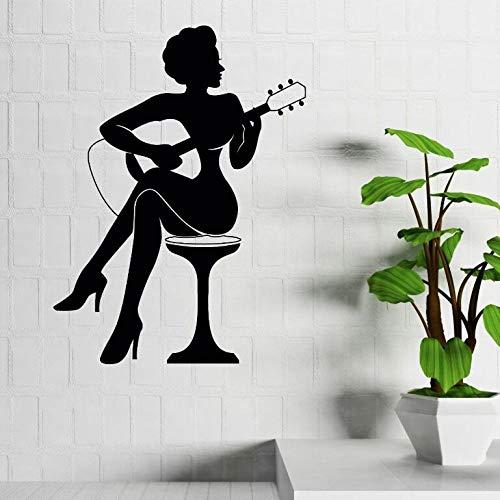 jiuyaomai Bar Dekoration Frau Spielen Gitarre Silhouette Wandaufkleber Musik Stil Kunst Wandtattoos Startseite Gitarre Kunst Vinyl Wandbild Rosa 84x114 cm