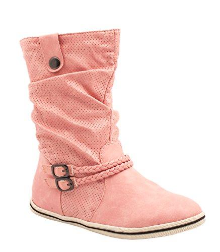 Elara Flache Damen Schlupfstiefel bequeme Stiefel Boots rose bonbon