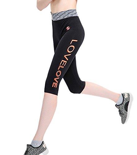 DELEY Donne Stretechy Stampa Floreale Collant Leggings Sportivi Pantaloni Yoga Running Fitness Capris Colore 6 Taglia L