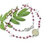 Unico collana del gioiello perle 45,7cm rosa calcedonio con Durzy 3–14mm rondelle sfaccettate perline con stella, rotonda, a forma di foglia, fantasia ciondoli inclusi come foto.