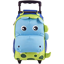 Yodo Convertible Playful 3Vías Little Kids Equipaje infantil o mochila con ruedas, bolsa de acceso rápido delantero grande para aperitivos o Knickknacks, poco maleta para niños y niñas edad 3+ verde Large-Dinosaur Talla:4-6 years
