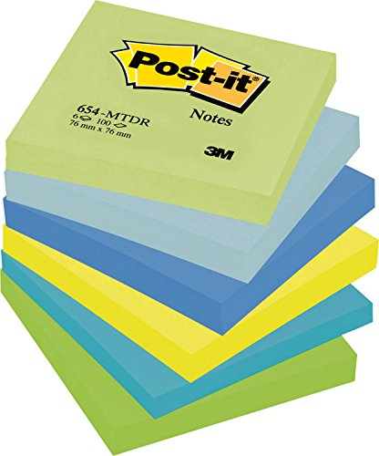 Post-it 654MTDR Haftnotiz Rainbow Notes (76 x 76 mm) 100 Blatt 6 Block