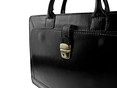 """bag2basics - Damen Aktentasche """"Akte Y"""" in cognac - Aktenkoffer Lehrertasche - Echtes Leder made in Italy schwarz"""