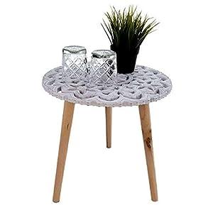 Spetebo Design Beistelltisch Shabby Chic - 40x40 cm - Holz Deko Tisch klein - Vintage Couchtisch weiß