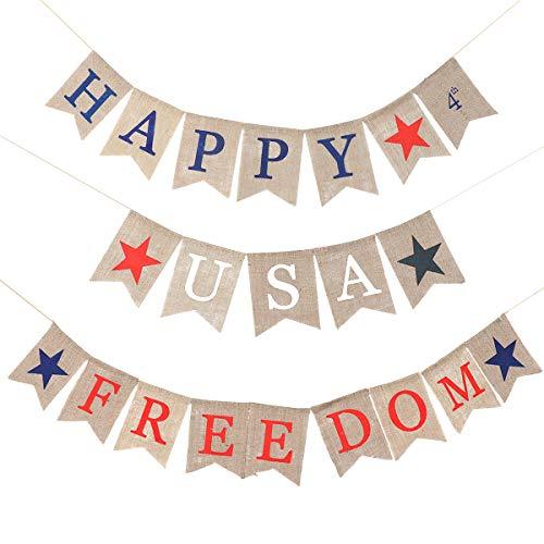 Amosfun 2 Stücke Amerikanischen Sackleinen Banner Freiheit Bunting Banner für Unabhängigkeitstag 4. Juli USA Party Dekoration (Bunting 4. Juli)