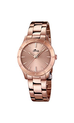 Lotus Women's Quartz Watch with Rose Gold Dial Analogue Display and Stainless Steel Rose Gold Plated Bracelet 18141/2