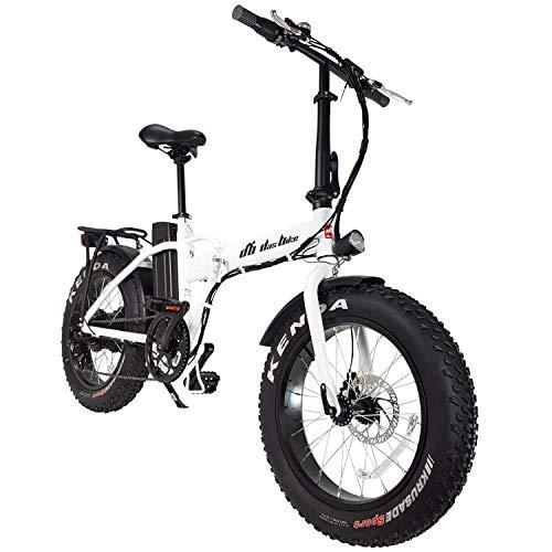 """DAS.BIKE Elektro Fat Bike 20\"""" Ebike Pedelec 7-Gang Shimanoschaltung mit Breiten Reifen (Weiß)"""