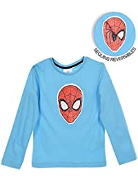 528f4a7a95eb4 Spiderman Boys Long Sleeve 100% Cotton Top T-Shirt with Reversible Sequins  Character Picture