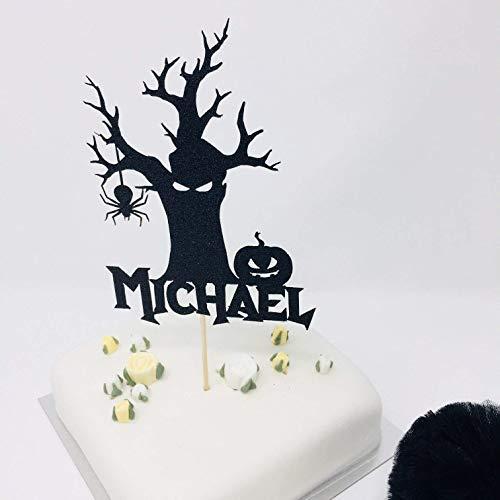 Personalisierbare Halloween-Geburtstagskuchendekoration. Happy Halloween Mottoparty. Tortenaufsatz, Acryl, personalisierbar