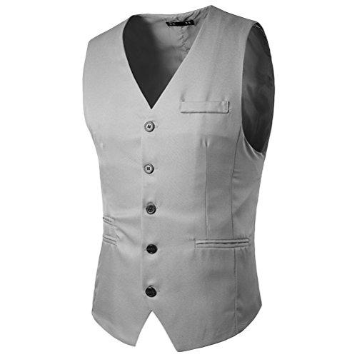 Zhhlinyuan gemütlich Mens Button Down Skinny Dress Vest Waistcoat Outwear Top Designed Light Gray
