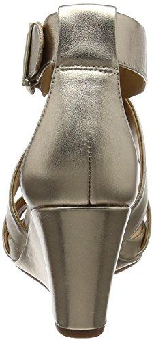 Clarks Acina Newport, Sandales Bout Ouvert Femme Multicolore (Gold Metallic)