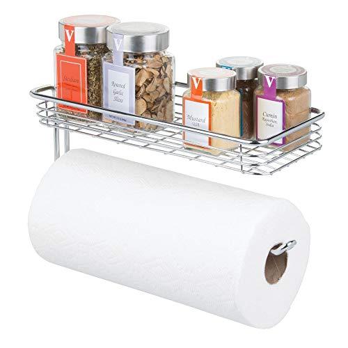mDesign Küchenrollenhalter Wand - Halter für Papierrollen in Küche oder Bad - an der Wand zu befestigender, moderner Papierrollenhalter - Farbe: Chrom -