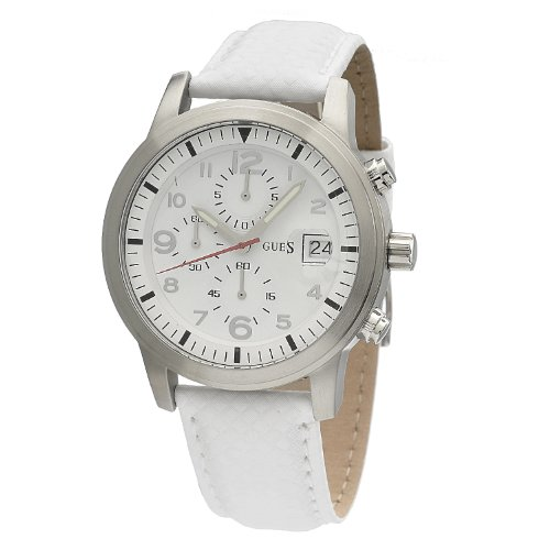 GUESS GUESS WHITE LEATHER W11163G3 GENTS WHITE LEATHER CHRONOGRAPH DATE WATCH