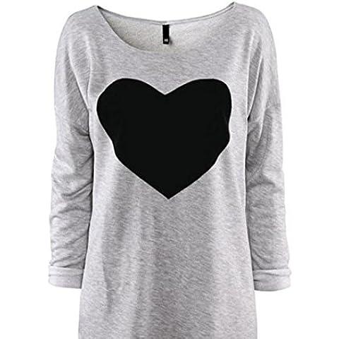 FEITONG Manera de las mujeres del amor del corazón Impreso Manga larga redonda del cuello de la camiseta