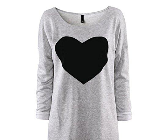 FEITONG Manera de las mujeres del amor del corazón Impreso Manga larga redonda del cuello de la camiseta (L,