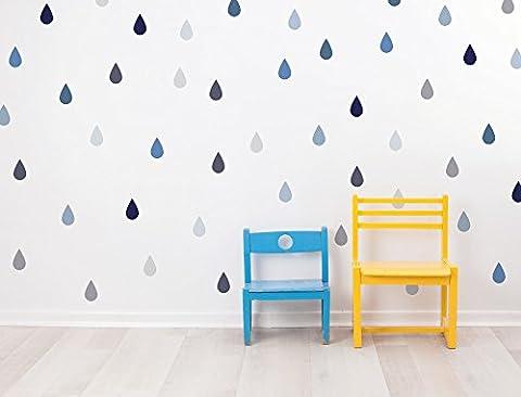 """I-love-Wandtattoo WAS-10601 Kinderzimmer Wandsticker Set """"Tropfen in Pastell Blau und Pastell Grau"""" 48 Stück Regentropfen Regendrops Regenschauer zum Kleben Wandtattoo Wandaufkleber Sticker Wanddeko"""