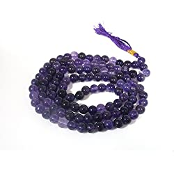 Excel Mala Amethyst Prayer Beads Buddhist 108 Necklace Gemstone Tibetan Bead Purple Stone Meditation Gift