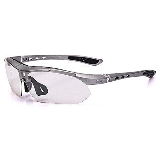 Easy Go Shopping Unisex-Sport-Sonnenbrille Set 3pcs austauschbare photochrome Linsen UV400 Schutz Fahren Radfahren Angeln Golf Sonnenbrillen und Flacher Spiegel (Farbe : Silber)