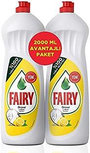 Fairy 2000 ml (2x1000 ml) Sıvı Bulaşık Deterjanı Limon Fırsat Paketi