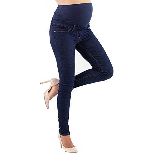 Mamajeans jeans premaman basico, super elastico e comodo, vestibilità skinny, lavaggio basic, colori denim e nero (l, denim)