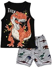 1-7 Años,SO-buts Bebé Niño Niños Chándal De Verano De Dibujos Animados Camisa De Dinosaurio Chaleco Tops + Conjunto De Trajes De Pijamas Cortos