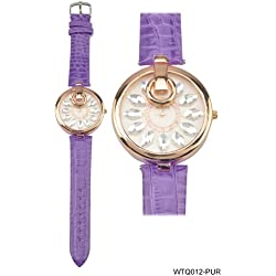 Rose Gold Coloured Bezel Round Shaped Face Watch with Purple Strap
