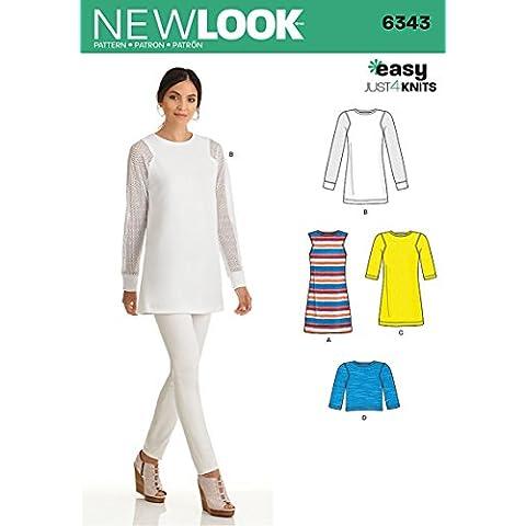 New Look 6343Tamaño a tallas Knit Túnica en 2longitudes de patrón de costura y la parte superior,