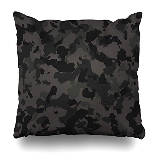 Camoflauge Fall (ZiJface Throw Pillows Covers Gray Camo Black Urban Camouflage Pattern Camoflauge Home Decor Pillowcase Square Size 18 x 18 Inches Cushion Case)