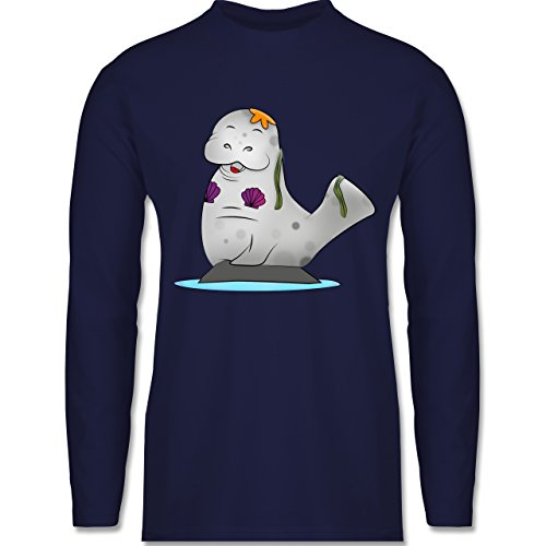 Shirtracer Sonstige Tiere - Meerjung-Seekuh - Herren Langarmshirt Navy Blau