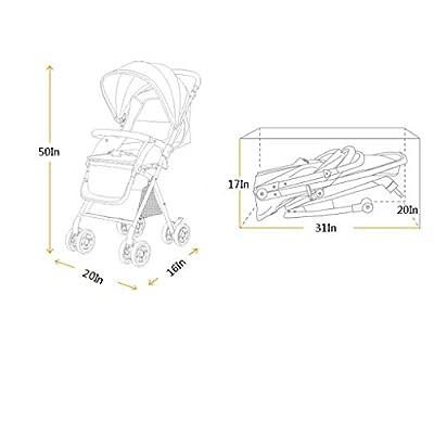 YC electronics Sillas de Paseo Alto Cochecito de jardín Ligero Plegable Se Puede sentar Mentira Baby Umbrella Trolley Sillas Ligeras
