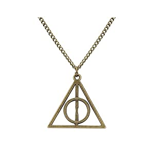 Access-o-risingg HP Inspired Non-Precious Metal Deathly Hallows Pendant for Women (PD069d, Bronze)
