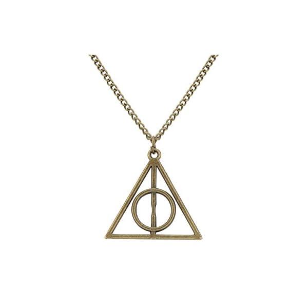 Access-o-risingg HP Inspired Non-Precious Metal Deathly Hallows Pendant for Women (PD069d, Bronze)