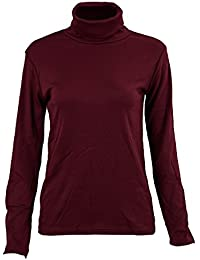 SODIAL(R) Mode Hommes Automne Hiver Col Roule Sweater-Shirt Motif solide Pull Vin Rouge M