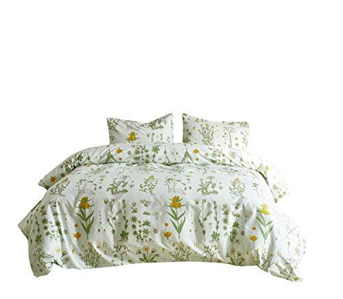 Bettwäsche 200 x 200cm 3 Teilig Blumen Pflanze Muster Doppelbett Baumwolle-Mischgewebe 1 Bettbezug und 2 Kopfkissenbezüge(80 x 80cm)