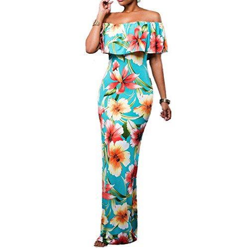 ASCHOEN Damen Freizeit am Meer Schulterfrei Lange Mehrfärbig Druckenblumen Kleid