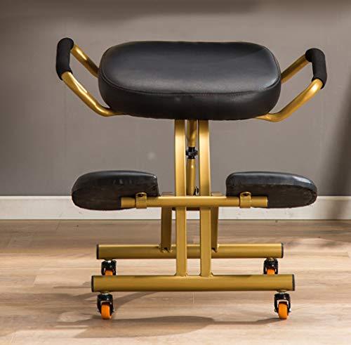 HHH Kniestuhl Ergonomisch Verstellbarer Beweglicher Stuhl Nackenschmerzen und Entspannung der Wirbelsäule Kniesitz Weiche Kniepolster Verbessern die Körperhaltung,Black - Esche Gepolstert Stuhl