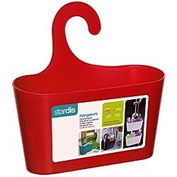 Panier de Douche Rouge avec Crochets de Suspension pour étagère de Douche Bain Étagère Rangement étagère