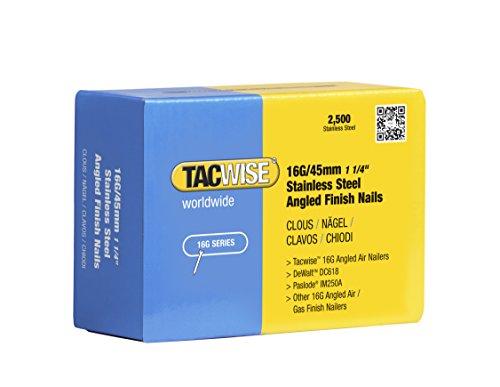 Tacwise Clous de Finition à Angle 16 GA / 45 mm en Acier Inoxydable (Lot de 2 500 Pièces)