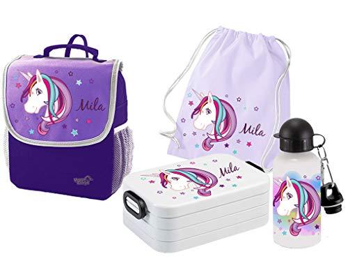 Mein Zwergenland Set 5 Kindergartenrucksack mit Brotdose, Turnbeutel aus Baumwolle und Trinkflasche Happy Knirps Next mit Name Einhorn Beauty, 4-teilig, Lila