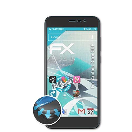 atFolix Schutzfolie passend für Archos Core 50P Folie, ultraklare & Flexible FX Bildschirmschutzfolie (3X)