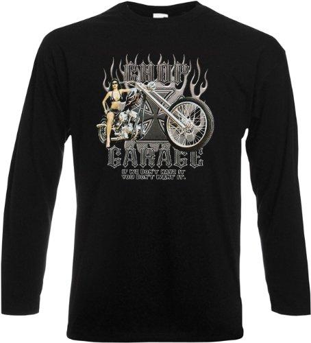 Cooles Herren Langarmshirt, Farbe: Schwarz, USA Biker Motiv: Hot Riding Schwarz