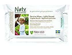 (Pack of 6) : Naty by Nature Babycare Wipes - Lightly Scented Sensitive 390g (Pack of 6)