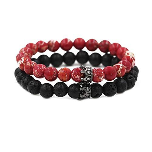 WANZIJING 2 Stück Armbänder für Paare, Roter Imperialer Jaspis Rundes Perlenarmband Armreif mit schwarzen Perlen mit Krone für Königskönigin,Black