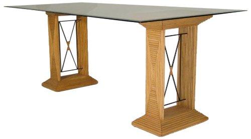 Hansen Rattan 8400/1F Säulentisch Honig gebeizt/Säulen mit Metallstreben/B 150 T 90 H 77 cm -